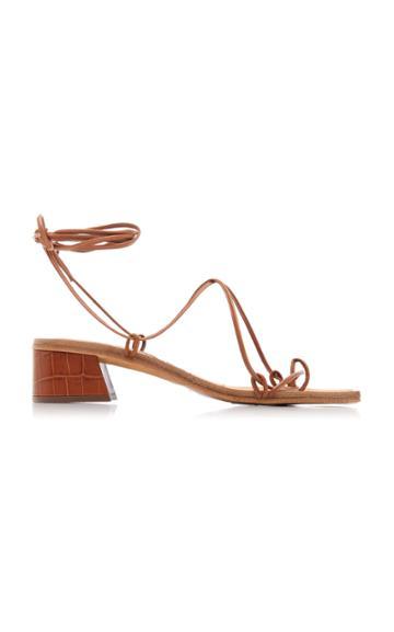 Miista Cimarron Croc-effect Leather Lace-up Sandals
