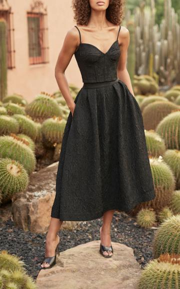 Moda Operandi Monique Lhuillier Tea-length Matelasse-jacquard Skirt