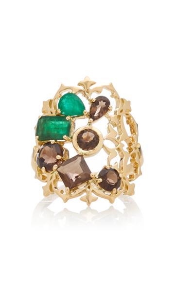Donna Hourani Harmony 18k Gold Quartz And Emerald Ring
