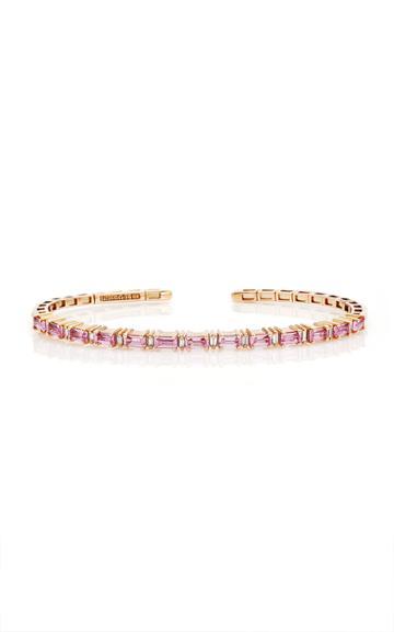 Moda Operandi Suzanne Kalan 18k Rose Gold Pink Sapphire Horizontal Bangle