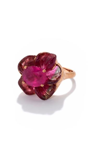 Moda Operandi Irene Neuwirth One Of A Kind Tropical Flower Ring Set With Tourmaline
