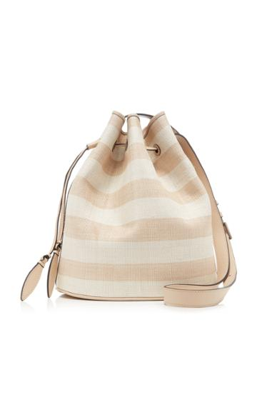 Hunting Season Striped Fique And Leather Drawstring Shoulder Bag