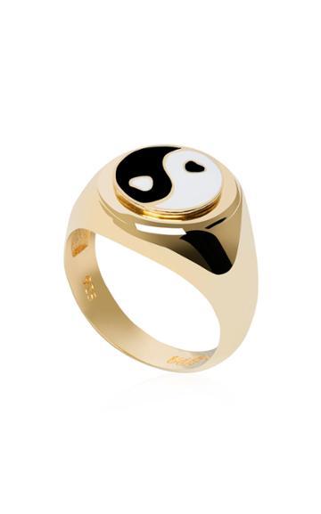 Wilhelmina Garcia Gold-plated Yin-yang Signet Ring