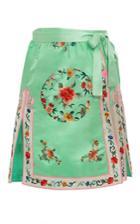 Cynthia Rowley Silk Embroidered Wrap Skirt