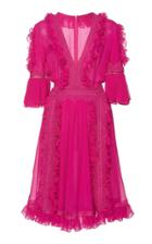Costarellos Ruffled Chiffon Silk Dress