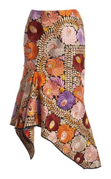 Moda Operandi Tom Ford Asymmetric Embroidered Cotton Midi Skirt