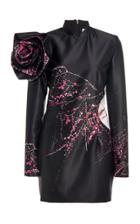 Moda Operandi Redemption Rose-detailed Printed Satin Mini Dress