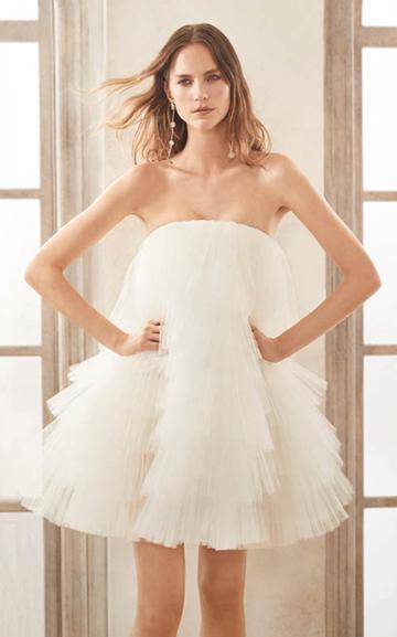 Moda Operandi Oscar De La Renta Strapless Pleated Ruffled Tulle Cocktail Dress Size: