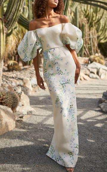 Moda Operandi Monique Lhuillier Floral Crepe Column Dress