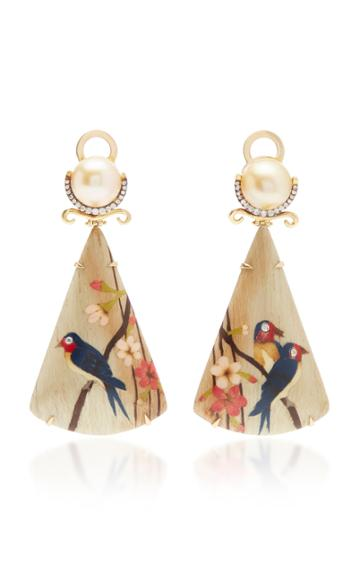 Silvia Furmanovich 18k Gold, Marquetry, Diamond And Pearl Earrings