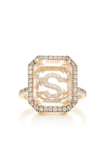 Moda Operandi Mateo 14k Yellow Gold Secret Diamond Frame Initial Ring
