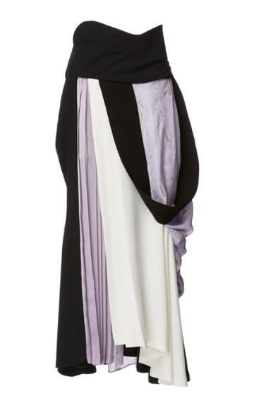 Mame Kurogouchi Color Block Draped Midi Skirt