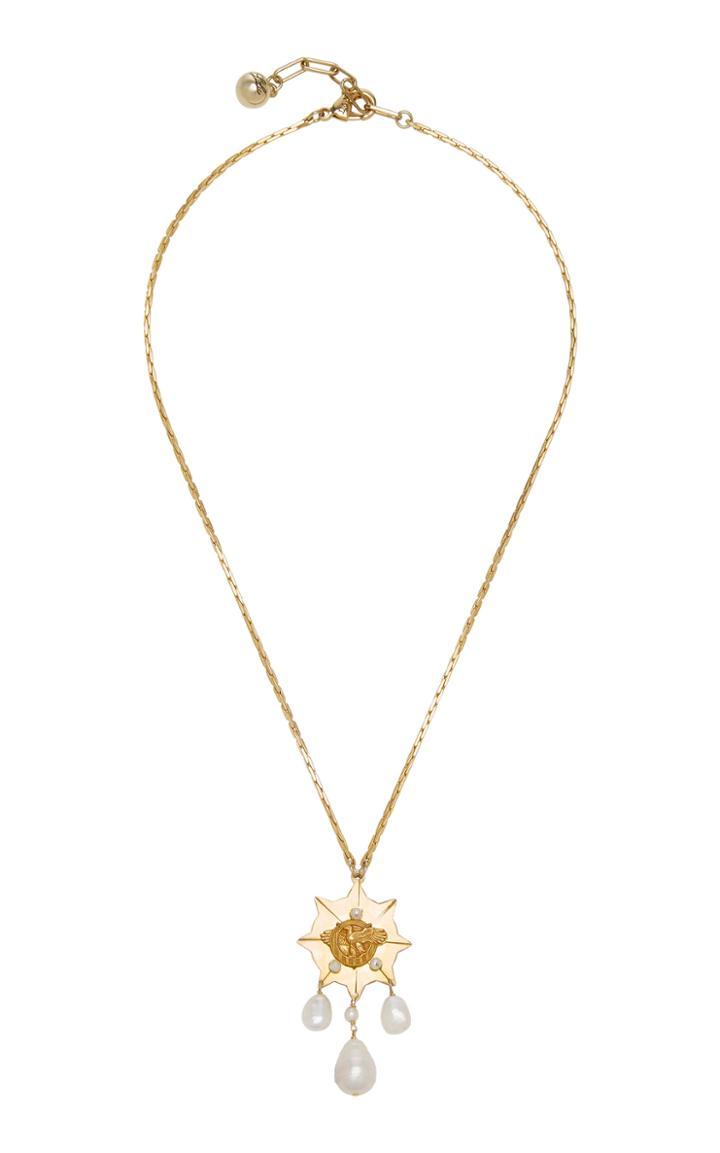 Lulu Frost Pearl-embellished 4k Gold Eagle Necklace