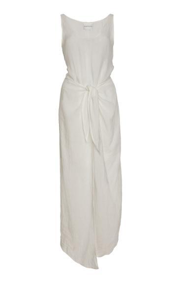 Anemone High-low Ramie Linen Wrap Dress