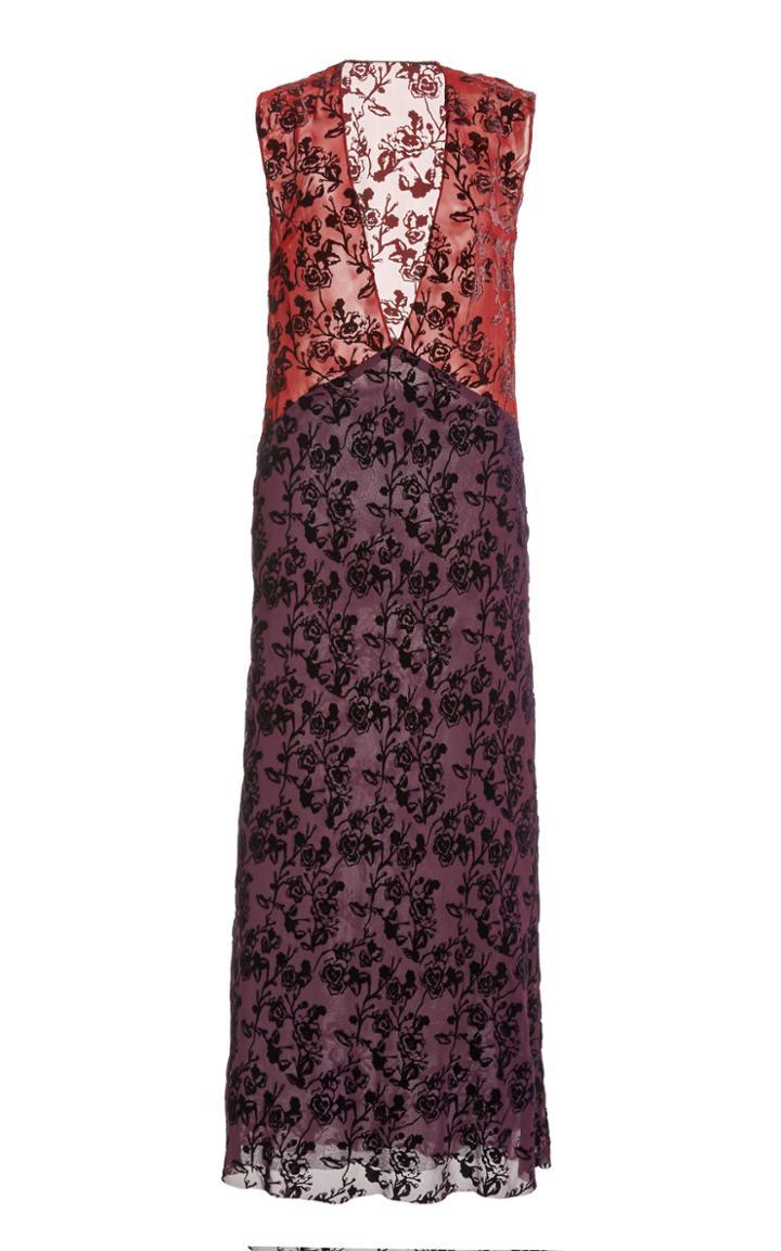 Moda Operandi Marina Moscone Floral-embroidered Chiffon Dress