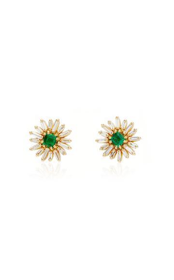 Moda Operandi Suzanne Kalan 18k Yellow Gold Emerald Flower Stud Earrings