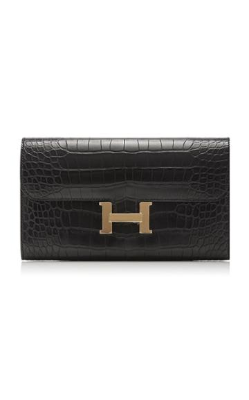 Herms Vintage By Heritage Auctions Herms Matte Black Alligator Constance Long Wallet