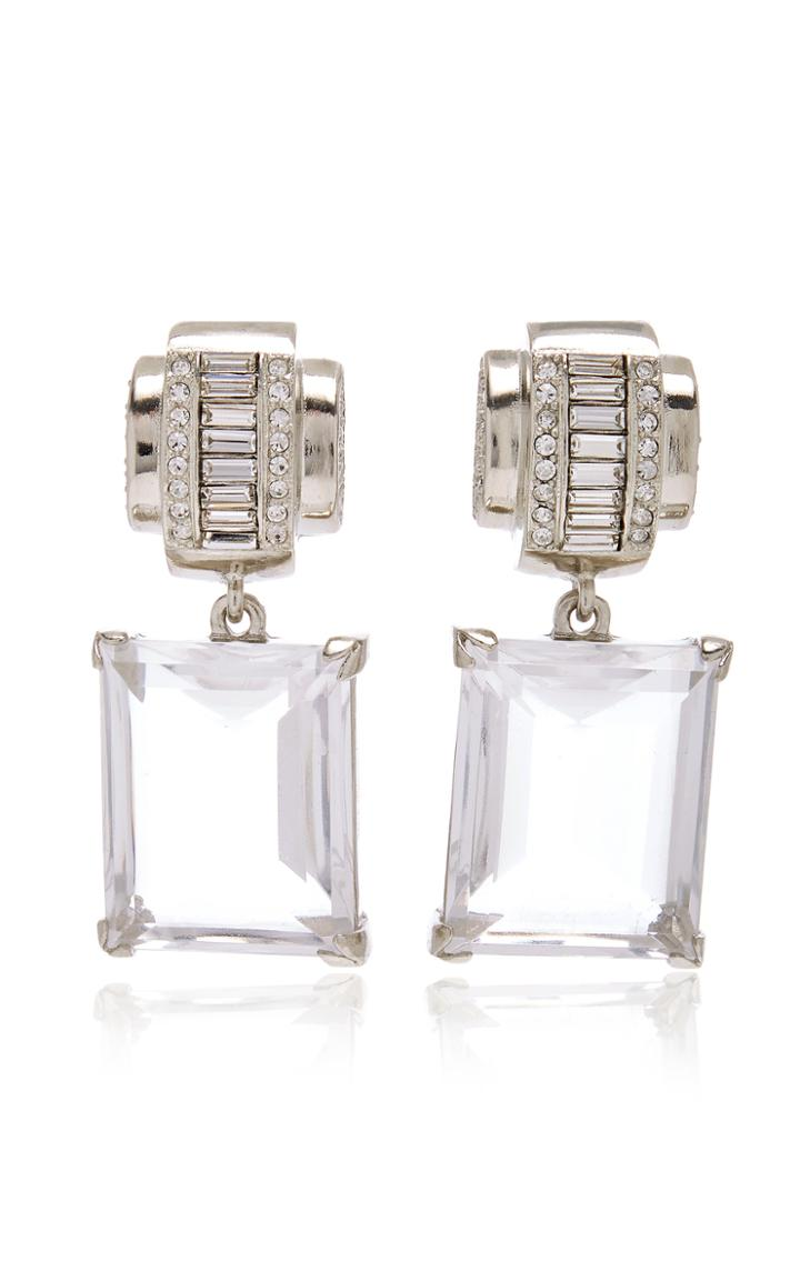 Moda Operandi Brandon Maxwell X Kenneth Jay Lane Deco Glass Crystal Earrings