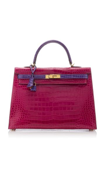 Herms Vintage By Heritage Auctions Herms 35cm Rose Scheherazade And Violet Shiny Porosus Crocodile Kelly Bag