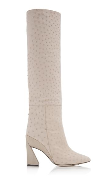 Salvatore Ferragamo Aneta Ostritch Leather Knee-high Boots