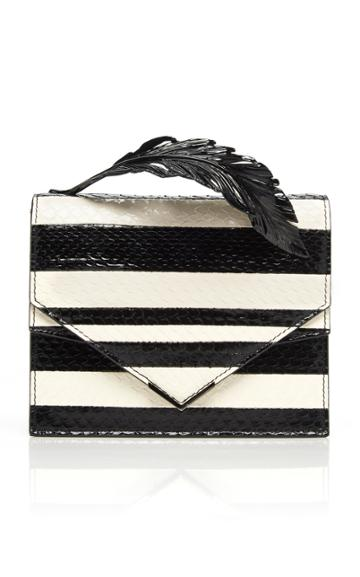Ralph & Russo Alina Striped Elaphe Clutch