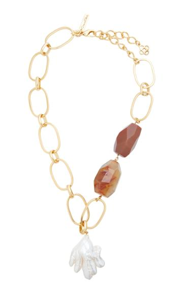 Oscar De La Renta Biwa Pearl And Agate Stone Necklace