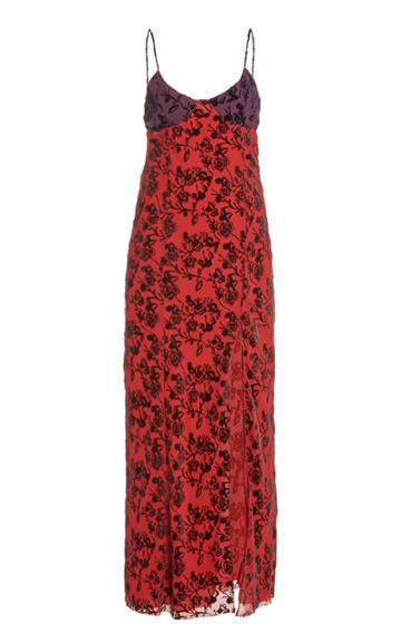 Moda Operandi Marina Moscone Floral-print Satin Dress