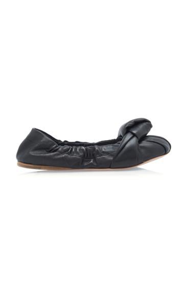 Moda Operandi Miu Miu Leather Knotted Flats Size: 35.5