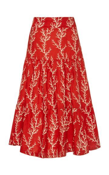 Agua By Agua Bendita Arrecife Anis Printed Linen Midi Skirt