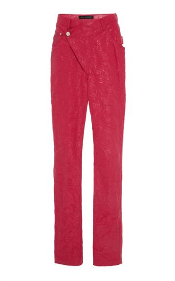 Sally Lapointe High-rise Asymmetric Crinkle-effect Coated Straight-leg Jeans
