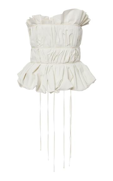 Brock Collection Oases Strapless Tied Cotton And Linen-blend Top