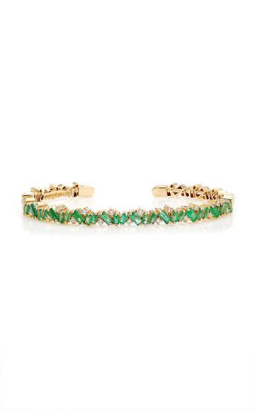 Moda Operandi Suzanne Kalan 18k Yellow Gold Emerald Frenzy Bangle