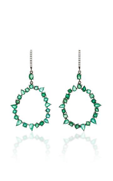 Nina Runsdorf M'o Exclusive One-of-a-kind Emerald And Diamond Jagged Edge Earring