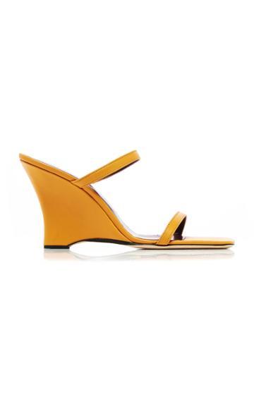 Moda Operandi By Far Steffi Ochre Leather Wedges Size: 35