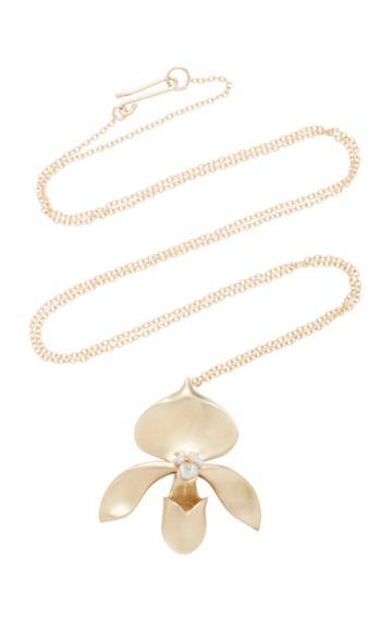 Annette Ferdinandsen Lady Slipper 14k Gold And Keshi Pearl Pendant Necklace