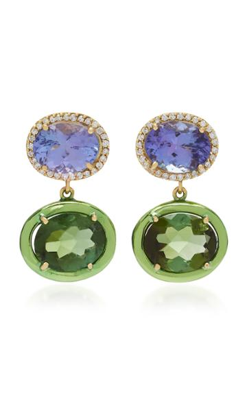Carol Kauffmann Class 18k Gold And Green Tourmaline Earrings