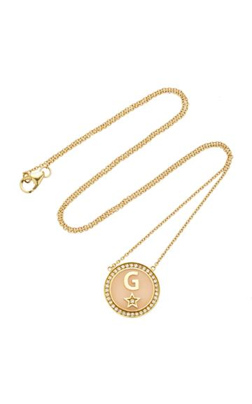 Moda Operandi Andrea Fohrman Custom Enamel And Diamond Initial Necklace