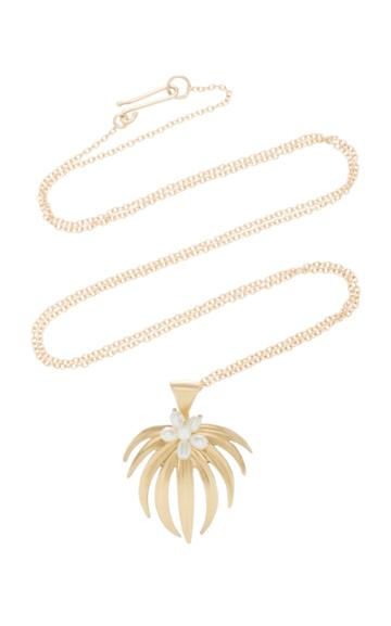 Annette Ferdinandsen Curled Fan Palm 14k Gold And Pearl Pendant Necklace