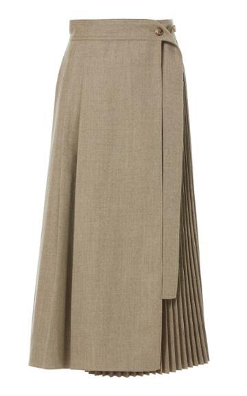Lvir Pleated Wool Wrap Skirt