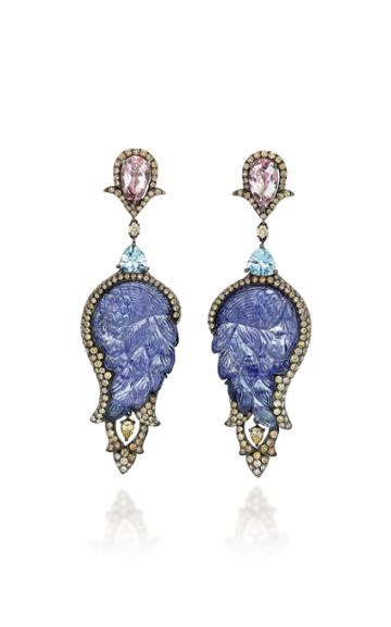 Wendy Yue 18k White Gold, Tanzanite, And Aquamarine Earrings
