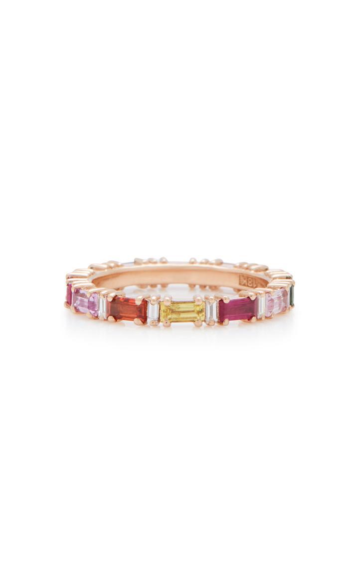 Suzanne Kalan 18k Rose Gold Rainbow Sapphire And Diamond Ring