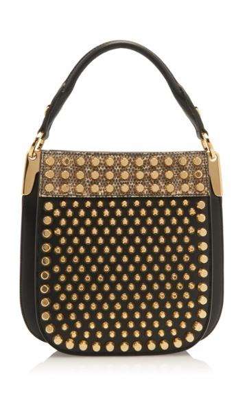 Prada Studded City Calf And Lizard Bag