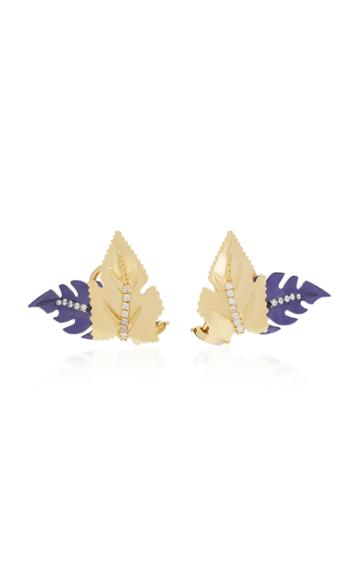 Carol Kauffmann Leaf 18k Gold Enamel And Diamond Stud Earrings