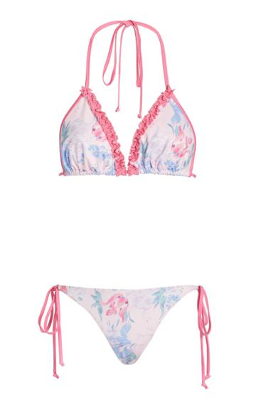Loveshackfancy Harbor Ruffled Floral-print Bikini Set
