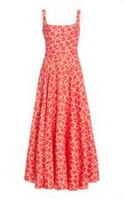 Brandon Maxwell Printed Pleated Silk Maxi Dress