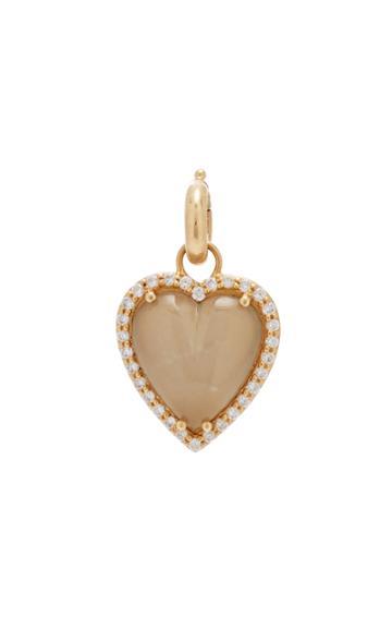 Moda Operandi Storrow 14k Gold And Grey Moonstone Heart Charm