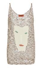 Missoni Face-printed Intarsia-knit Top