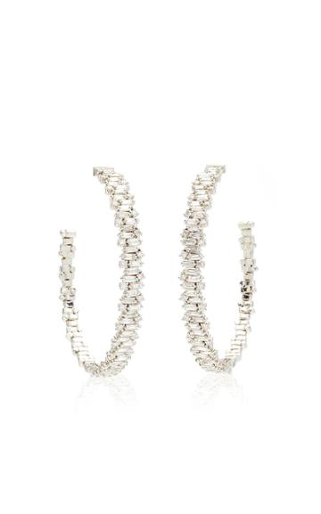 Moda Operandi Suzanne Kalan 18k White Gold Shimmer Hoop Earring