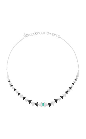 Nikos Koulis V Necklace With Pav White Diamonds Emerald And Black Enamel