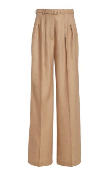 Moda Operandi Gabriela Hearst Vargas Belted Wool Pleated Wide-leg Trousers